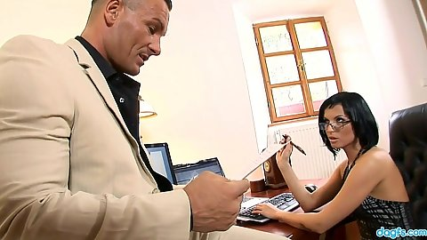 Brunette office worker milf Renata Black gets eaten on her desk