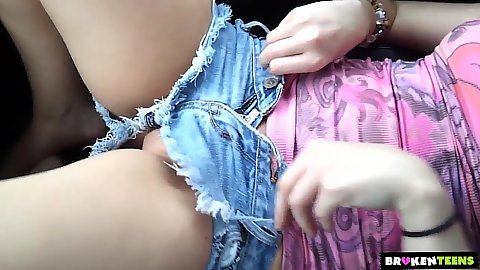 Tight shorts and no panties with slutty teen Staci