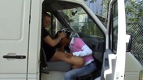 Public blowjob in a parked van with this dark skinned french girl