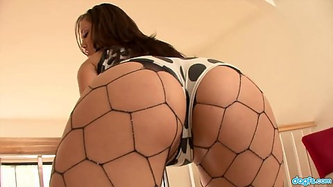 Horny asian with fishnet ass gets ass worship Kristina Rose