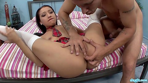 Young latina 18 year old Vicki Chase fingered pussy and sex with fellatio