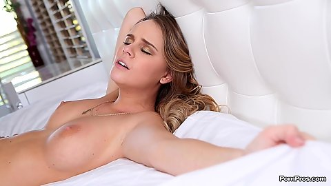 Intense blowjob and sitting on dick sex with medium sized boobs Alexis Adams