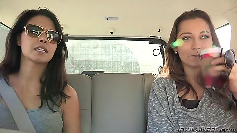 Taking a drive with fully dressed lesbians in car from Dani Daniels and Dana Vespoli