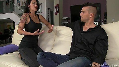 Brunette clothed milf Dana Vespoli talks about sex