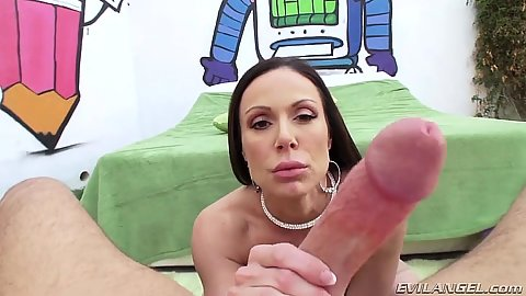 Pov blowjob with spitting saliva back on cock with Kendra Lust