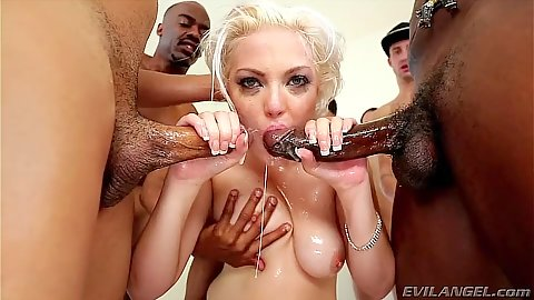 Jenna Ivory gets cum coverd in bukkake and deep throat gaggin gang bang