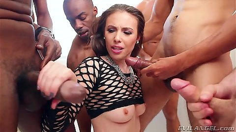 On fire interracial gang bang deep throat with cum eating Casey Calvert