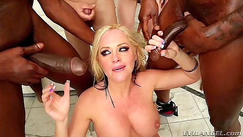 Group big boobs interracial gang bang with Alena Croft having deep throats all the time