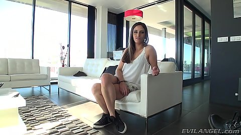 Brunette skinny new comer Tania Hassana does two dicks at once
