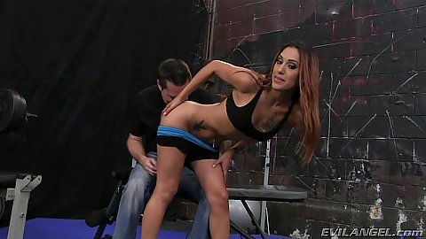 Athletic latina Crystal Lopez pulls down her hotpants to get ass licked