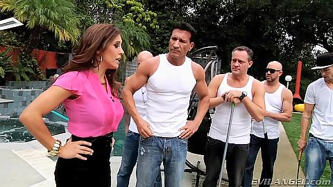 Raunchy milf Francesca Le takes to a group of men