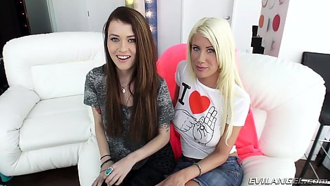 Blonde and brunette lesbian stripping bitches Riley Jenner and Misha Cross