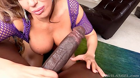 Big dick milf Richelle Ryan interracial blowjob and big ass in fishnet