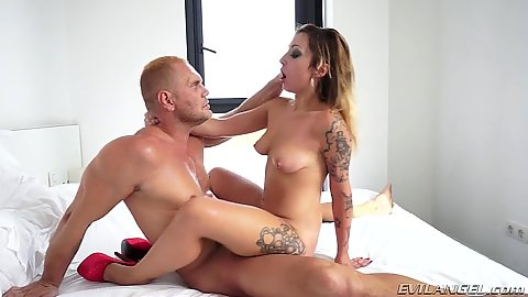 Cowgirl snatch fuck with tattoo hooker Livia Teen