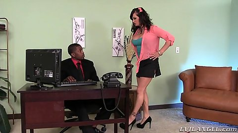 Office Tory Lane approaches worker wearing a sexy skirt