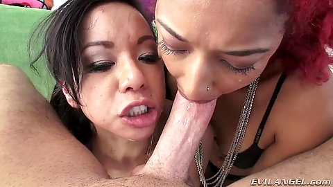 Stunning pov asian deep throat with Kimmy Lee and Daisy Ducati and ass fingering