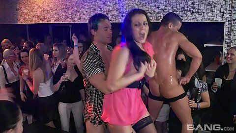 Male strippers getting blowjobs from cfnm clothed party bitches
