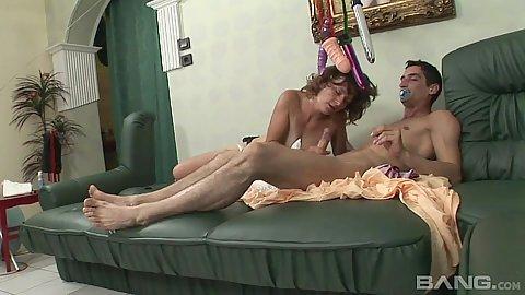 Diaper fetish handjob