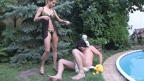 Outdoor diaper fetish in lignerie with girl fucking man with strap on