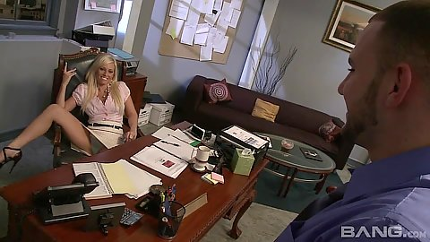 Blonde office slut Angelina Ash gets eaten out behind her desk