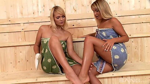 Nice looking feet blonde lesbians getting horny in sauna