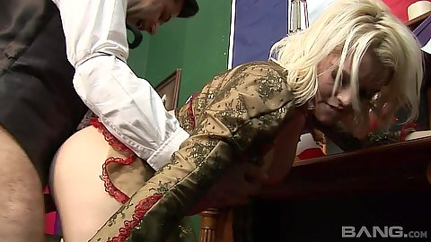 Sex from behind with blonde in story based porn scene