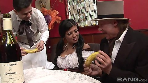 Jolly maid and restaurant worker all in great orgy