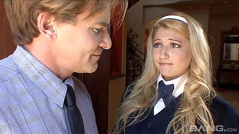 Blonde school girl Jessi Stone and older man have fellatio
