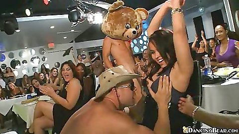 Big dicked Dancing bear and a lucky slut from audience