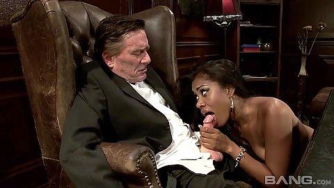 Ebony Yasmine De Leon sucking off olders mans dick then ass licked