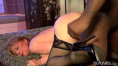 Doggy style sex with mature white whore and black cock Nina Hartley