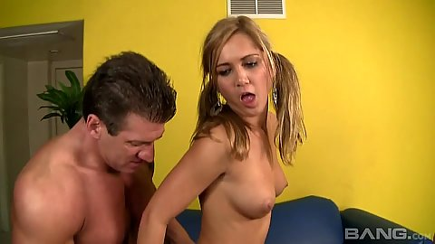 Fantastic teen drilling with wife helping out in threesome Caroline Pierce and Ashley Abott