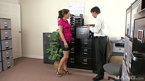 Office miniskirt secretary Elizabeth Anne