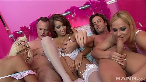 Group lingerie latina girs Amy Azurra and Daisy Marie riding cocks