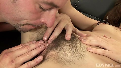 Hairy girl gets licked then does a cum leaking blowjob Katie Angel