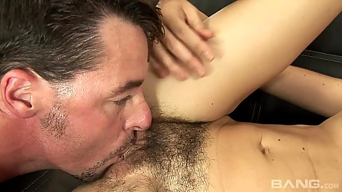 Hairy girl with small chest receives cunnilingus Katie Angel