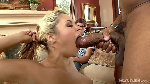 Temping wife opens mouth for big dick Shane while husband in corner Sarah Vandella