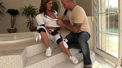 Fantastic skinny brunette Jenny Baby wearing ball uniform