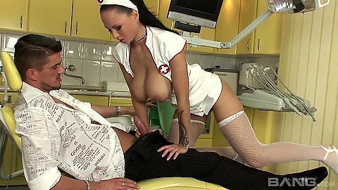 Dominno busty doctor giving patient suck and titty fuck