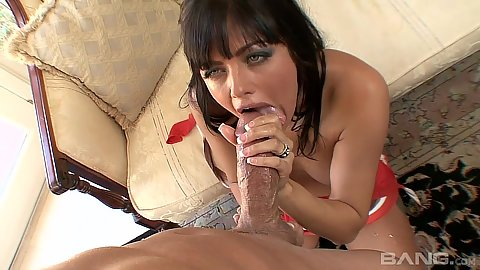 Spicy pov blowjob with Sadie West working on a very big dick in pov