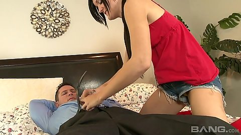 Luscious 18 year old handjob and undressing Bobbi Brixton