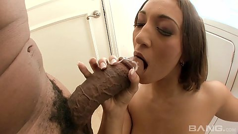 Zealous Leona Dulce sucking huge black dick