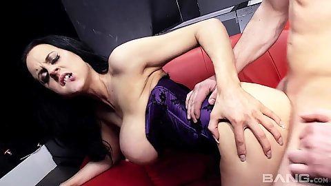 Sensual milf doggy style with big hooters brunette