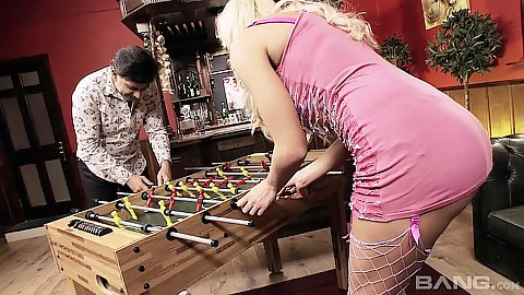 Playing some fooze ball with blonde milf