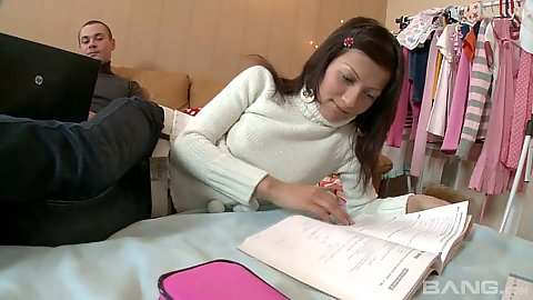 Brunette 18 year old sweetheart doing her home work then sucks cock