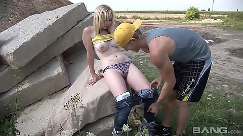Getting 18 year old Lenna stripped naked outdoor for some fun