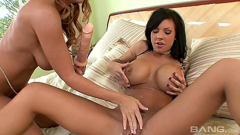 Fingering and big sex toy play from milfs Mason Moore and Janet Mason