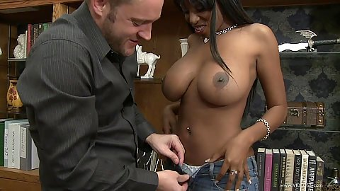 Enthusiastic black chick Codi Bryant kneels to suck dick