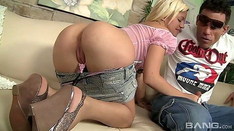 Lusty 18 year old Bibi Noel touches mans dick with her panties pulled down