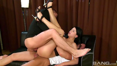 Legs way up in the air fuck brunette small boobs Lucy Belle getting double penetrations